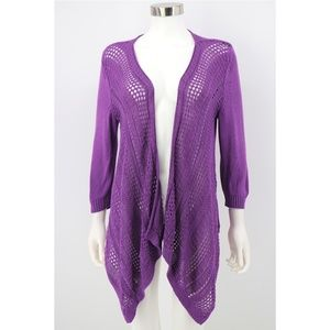 Chicos Open Weave Knit Draped Open Front Cardigan